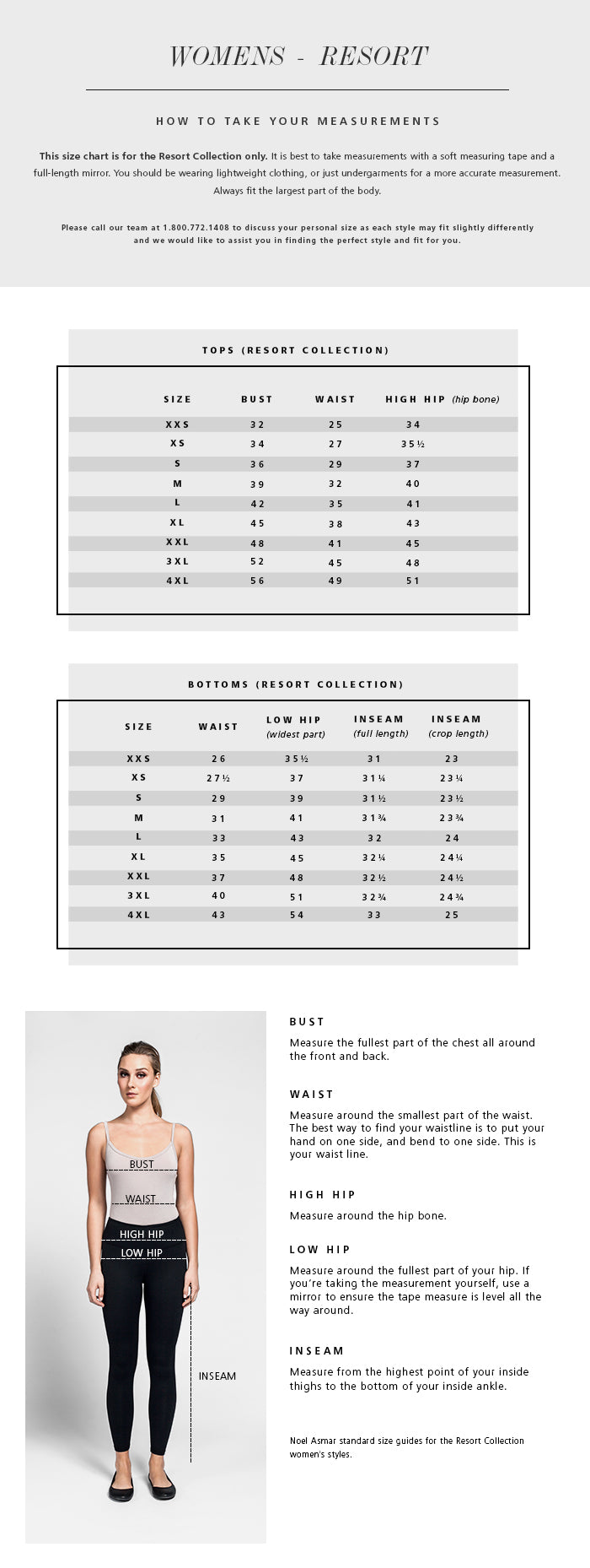 Women's Resort Collection Size Chart