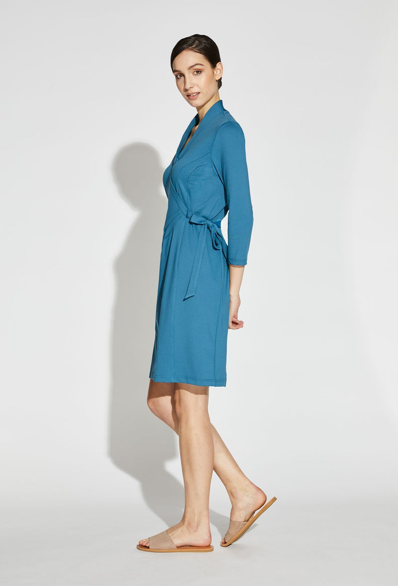 Sustainable Amari V-Neck Faux Wrap Dress