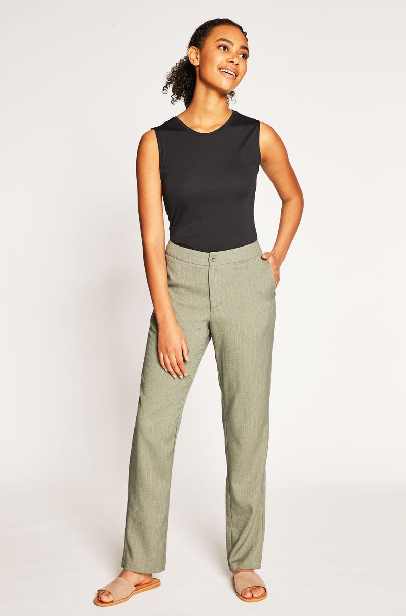 Women's Faux Linen Long Pant