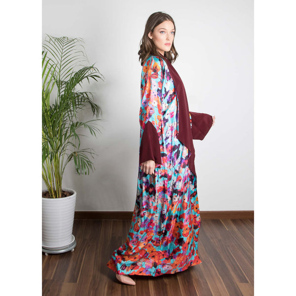 Zahra - Draped - Full Art Abaya (Maroon)