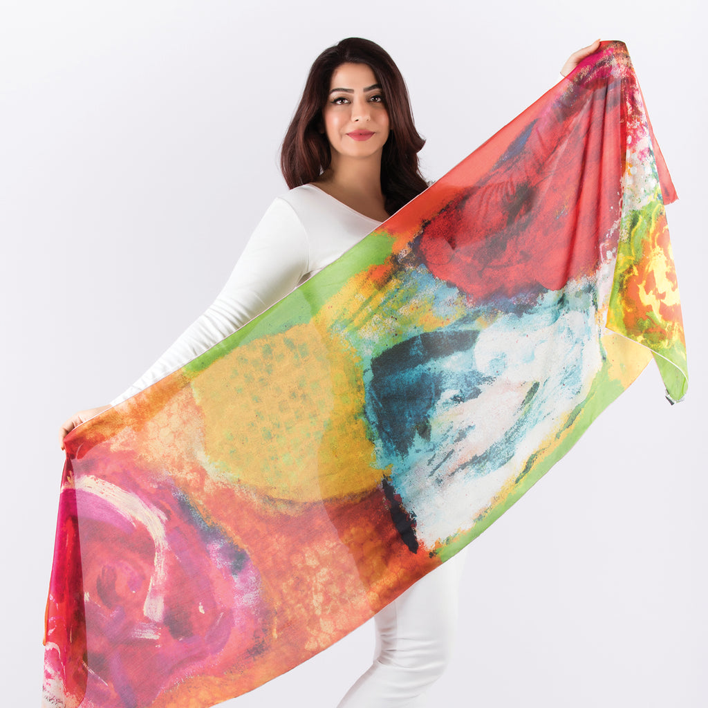 Beautiful Flowers - Long Scarf (Silk Voile)
