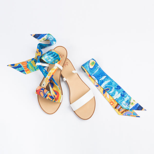 Blue Sea  - White Flat Sandals