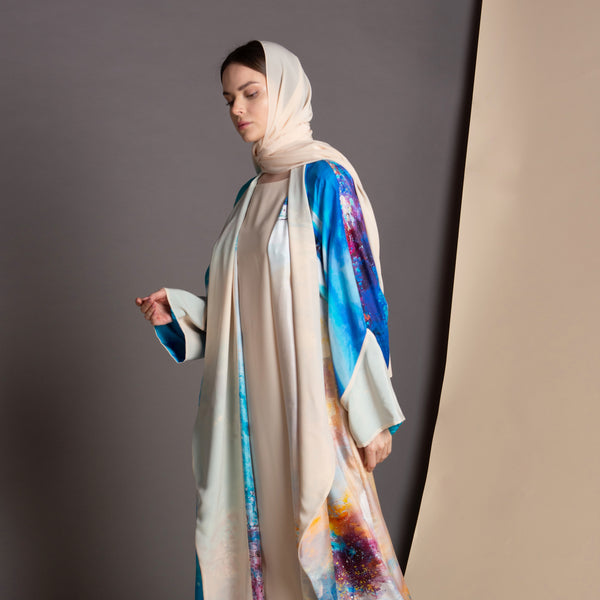Remember Me Dearly - Draped - Full Art Abaya (Cream)
