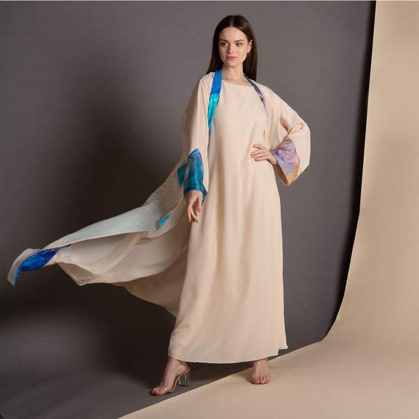 Remember me dearly - Draped - Trim Abaya (Cream)