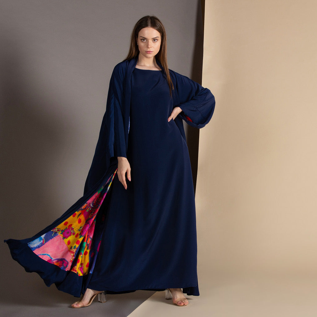 White Rainbow - Signature Reversible Abaya (Navy)