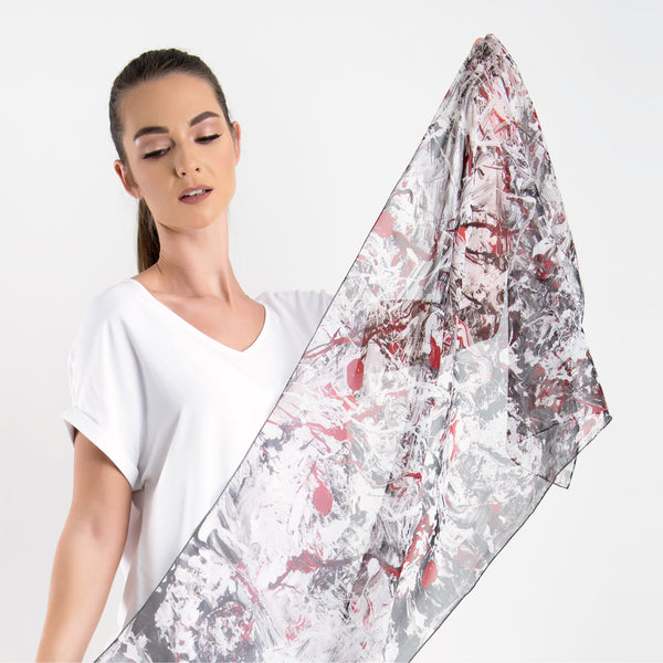 Roses - Long Scarf (Silk Georgette)
