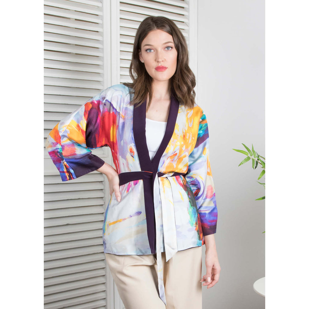 A Memory In Time -  Reversible Kimono Cardigan (Eggplant)