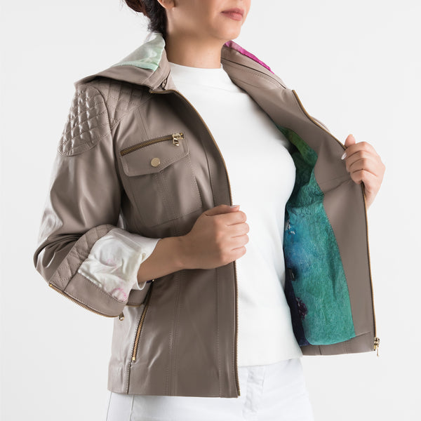Moon Light - Leather Jacket (Mushroom Gray)