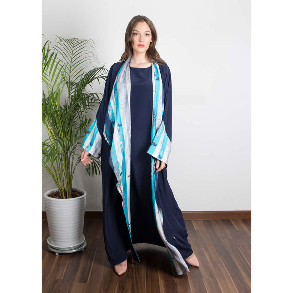 The (I) in Me - Draped - Trim Art Abaya (Navy)