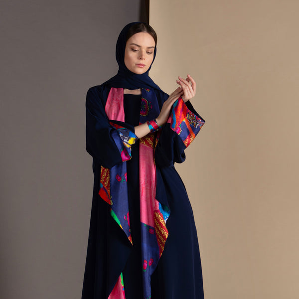 White Rainbow  - Draped - Trim Abaya (Navy)