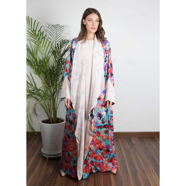 Zahra -  Draped - Full Art Abaya (Peach)