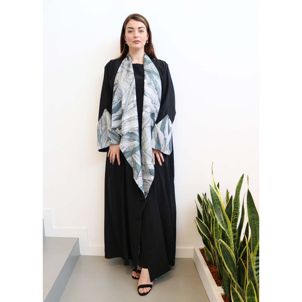 Her Story  - Draped - Trim Art Abaya (Black)
