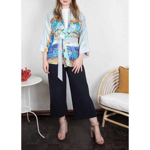 Blue Sea - Reversible Kimono Cardigan (Light Grey)