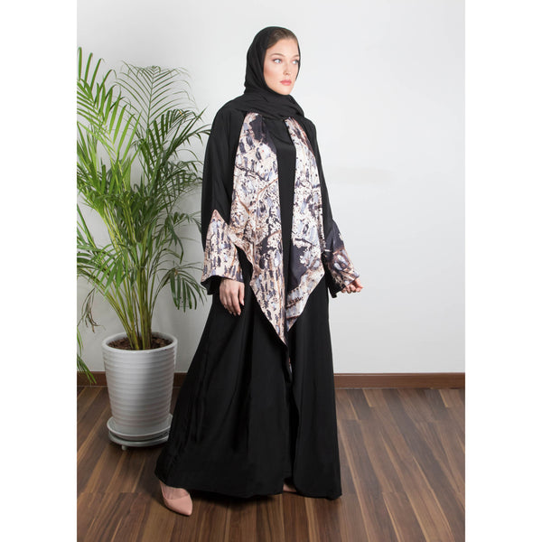 Weaves Of Hope -  Draped - Trim Art Abaya (Black)