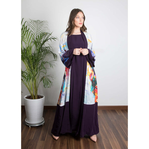A Memory In Time - Signature Reversible Abaya (Eggplant)