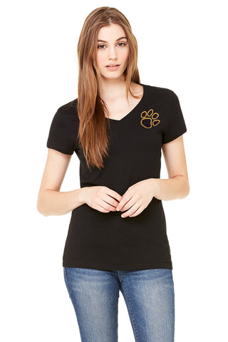 Bella + Canvas Ladies' Glitter Paw V-Neck T-Shirt