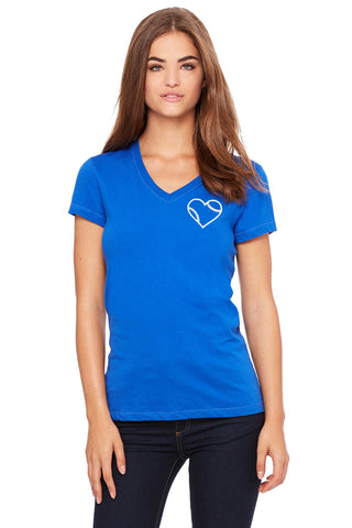 Bella + Canvas Softball Heart V-Neck