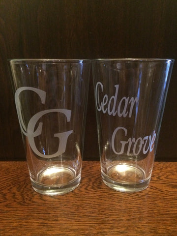 "Pint Glass-""Cedar Grove"""