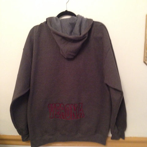 Hoodie with Large Embroidered Verona at Bottom
