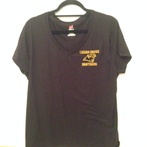V-Neck short sleeve with Gold/Black Cedar Grove Panther Embroidered Logo