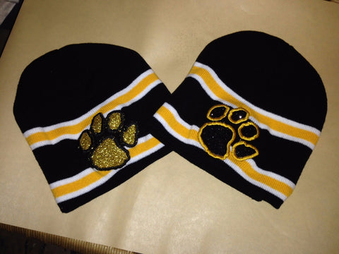 Hat-Striped Beanie w/Glitter Flake Panther Paw