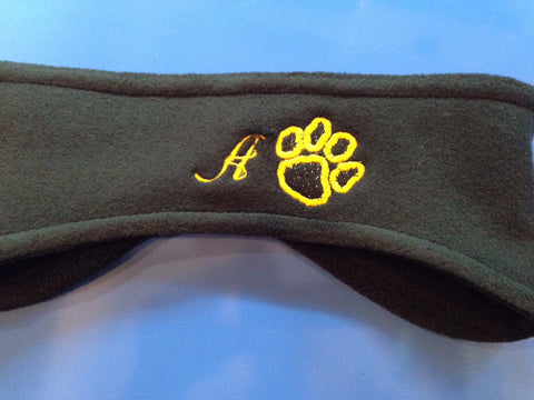Polar Fleece Headwrap w/Glitter Paw and Embroidered Initial