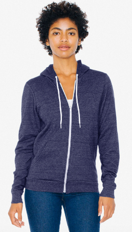 American Apparel Unisex Tri-Blend Zippered Hoodie