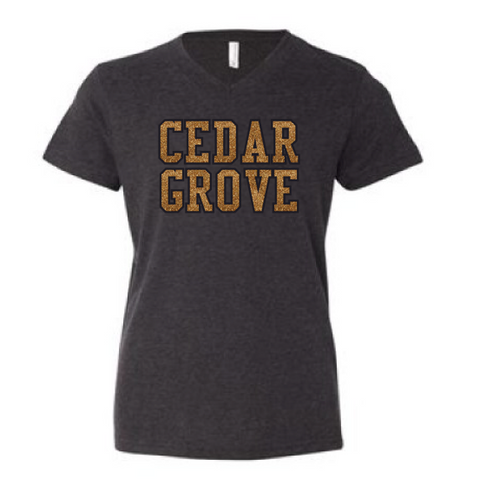 Bella + Canvas Cedar Grove Glitter V-Neck T-Shirt