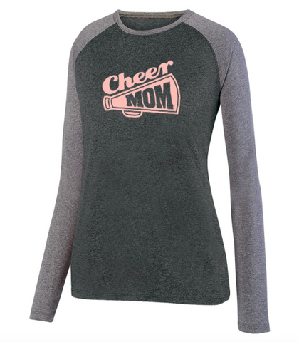 Augusta Cheer Mom Ladies Kinergy Two Color Long Sleeve Raglan Top