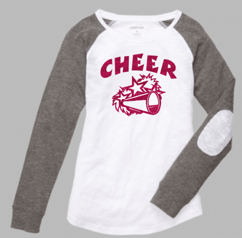 Boxercraft Giltter Cheer/Megaphone Preppy Patch Tee