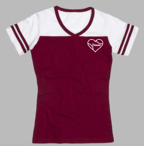 Boxercraft Verona Baseball Heart Powder Puff T-shirt
