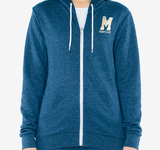 "American Apparel Unisex Tri-Blend Zippered Hoodie - Embroidered Two Tone ""M"" with Montclair underneath"