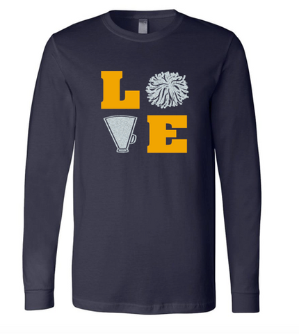 Bella + Canvas Customizable Love Cheer Long-Sleeve T-Shirt
