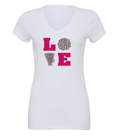 Bella + Canvas Customizable Love Cheer V-Neck