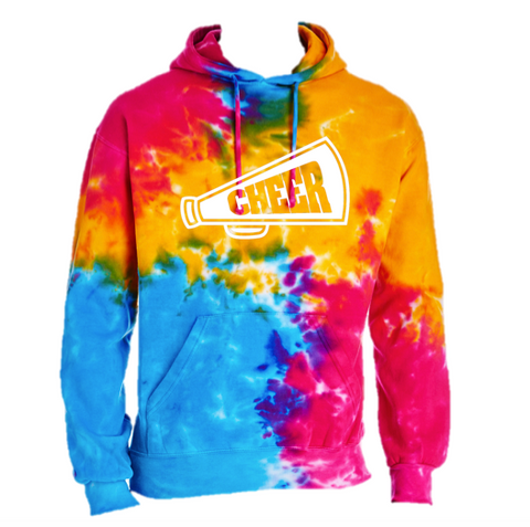 Tie Dye Customizable Cheer Tie-Dye Hooded Sweatshirt