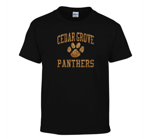 Gildan Cedar Grove Panthers Glitter Flake T-Shirt