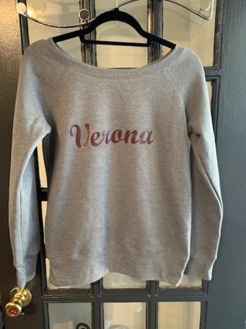 Bella + Canvas Ladies Sponge Fleece Wide Neck Sweatshirt - VERONA script