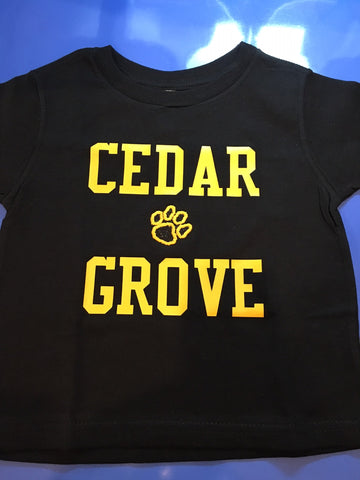 Rabbit Skins Toddler T w/Cedar Grove Print and Glitter Paw in center