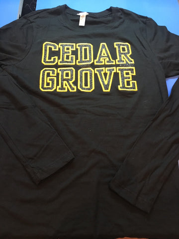 L.A.T. Long Sleeve Top w/Black Glitter flake and Athletic gold Emb. Cedar Grove