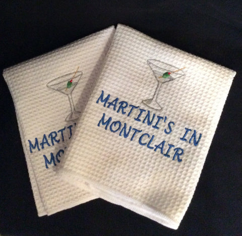 """Martini's In Montclair"" Set of 2 Dish Towels"