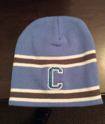 "Glitter Flake ""C"" on striped Skull Cap"