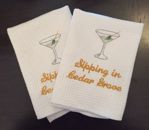"""Sipping in Cedar Grove"" Martini Glass Dish Towels"