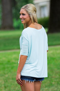 3/4 Sleeve Piko Top - Mint - Piko Clothing