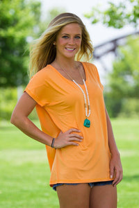 Short Sleeve Rolled Sleeve V-Neck Piko Top - Tangerine - Piko Clothing - 1