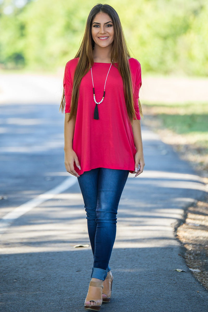 3/4 Sleeve Piko Top - Watermelon - Piko Clothing