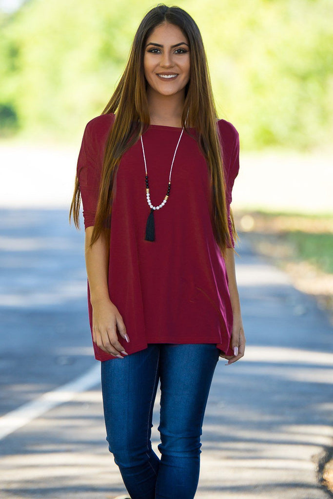 3/4 Sleeve Piko Top - Plum