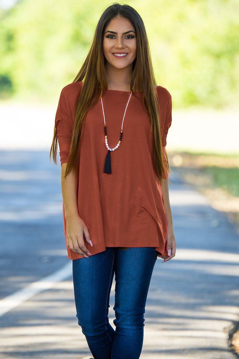 3/4 Sleeve Piko Top - Rust - Piko Clothing
