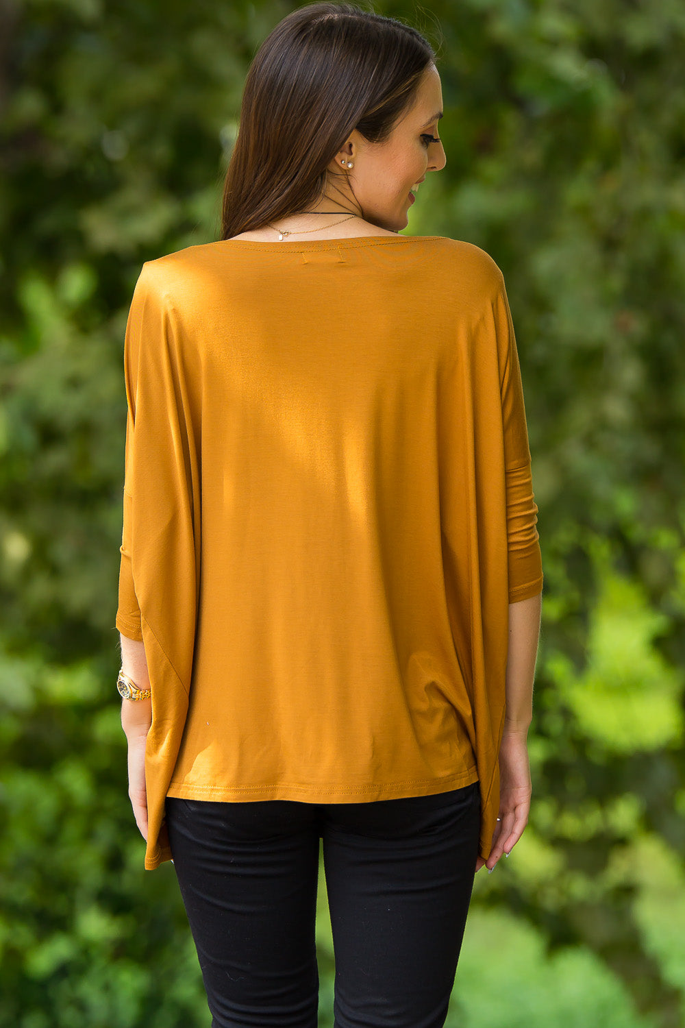 3/4 Sleeve Piko Top - Dark Mustard