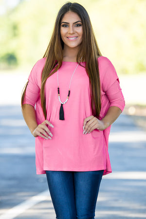 3/4 Sleeve Piko Top - Pink - Piko Clothing