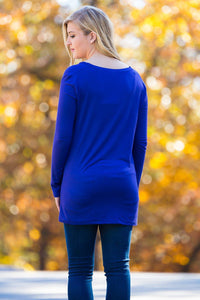Long Sleeve Slim Fit V-Neck Piko Top - Violet - Piko Clothing